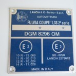 Lancia Fulvia S2 Vin Tag Plate