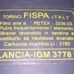 Lancia Fulvia Fispa Air Filter Decal